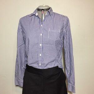 Mossimo Blue White Stripe Button Down Blouse Top L